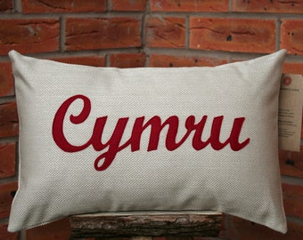 Cymru Cushion/ Handmade Welsh appliquéd cymru/wales cushion/pillow