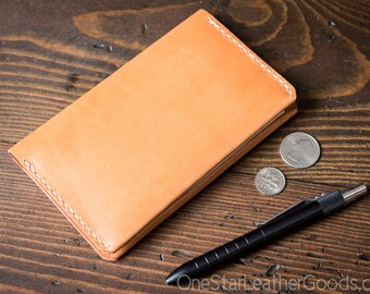 """Simple leather notebook cover for Field Notes and other 3.5x5.5"""" pocket notebooks - tan bridle leather"""
