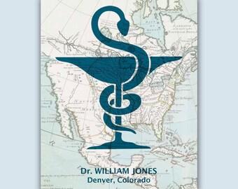 Pharmacy Graduation Gift, Pharmacy Art, Personalized Pharmacist print, Pharmacist gift, Pharmacy student, Pharmacy map art, Pharmacist art