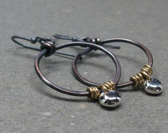 Copper Hoop Earrings Mixed Metals Brass Oxidized Sterling Silver Metalwork