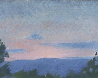 Pink Sunset: Original Oil Painting Plein Air Landscape