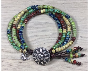 Leather Wrap Bracelet, Leather Bracelet,  Boho Wrap Bracelet, Leather Jewelry, Boho Bracelet, Beaded Bracelet, Bohemian Jewelry, NimbleKnots