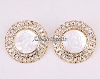 AZYZ300-4470 Metal Copper Necklace Pendant, Gold Plated Cubic Zirconia Pave Jesus Pattern Shell Pendant Elegant Female Jewelry