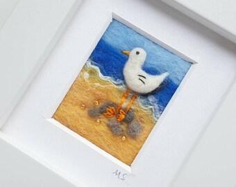 Sea gull needle felted and embroidered original seascape artwork - coast inspired fiber art - gift for sea lover