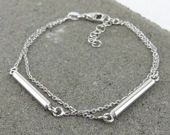 Silver Round Bar Bracelet