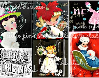 Hello, Gorgeous, vintage Christmas collage sheet (printable, digital download)