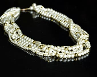 Costume Pearls, Costume Necklace, Costume jewelry, Gold and Pearls, Multi Strand Pearls, Chanel Look, Fun Pearl Necklace