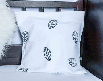 Pillow Cover with Black Leaves, Pillow Case, Bedding