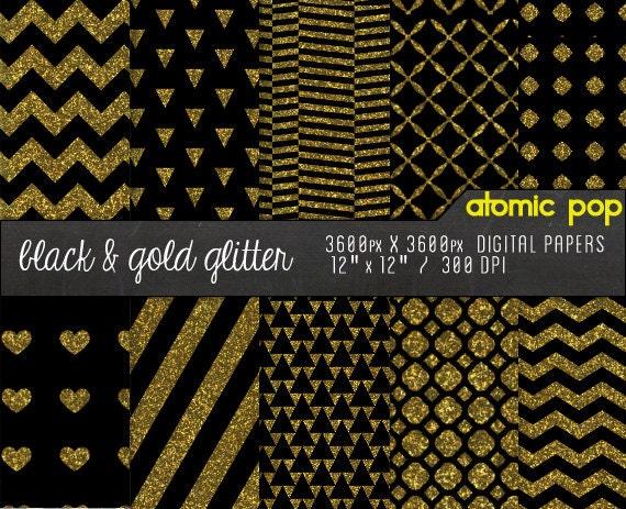 Instant Download Black Gold Glitter Digital Paper Pack