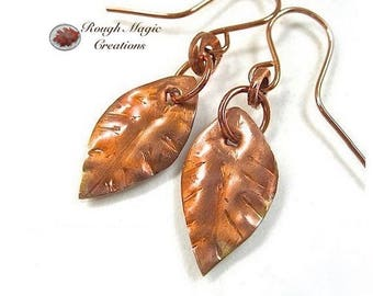 Copper Leaves Earrings, Rustic Jewelry for Women, Primitive Metalwork, Hammered Metal, Autumn Woodland Theme, 7th Anniversary Gift E139