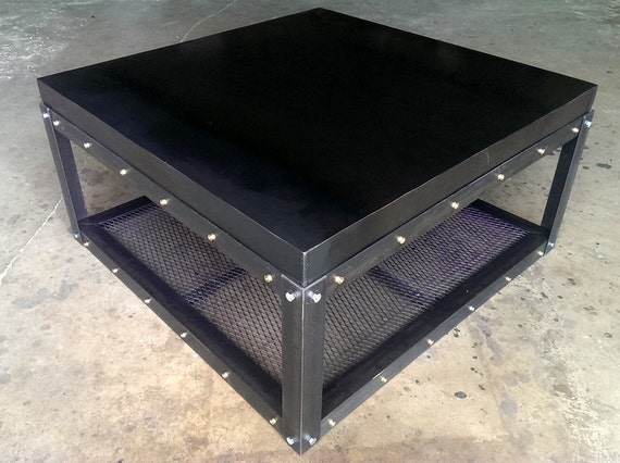 industrial coffee table with shell casing rivets 018. Black Bedroom Furniture Sets. Home Design Ideas