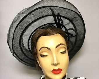 1940's Black Horsehair Crinoline WIDE BRIM Hat, Adorable SHEER Black 40s Cartwheel Hat
