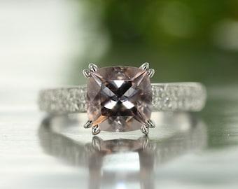 8mm Pink-Peach Cushion Cut Morganite in 14K White Gold Diamond and Morganite Engagement Ring
