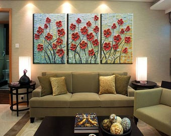 3 Piece Canvas Wall Art . handmade Original Oil Painting On Canvas Red Flowers Abstract Painting Modern Home Decor Art Stretched Framed