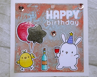 Cute little Handmade Chick & Bunny Happy Birthday Card, Mama Elephant Party Animals, Whimsical Birthday Card, Bottle Balloon Card