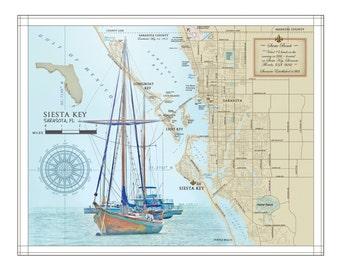 "Sarasota & Siesta Key 11""x14"" Area artistic map"