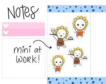Working Mini-- Working Stickers| Kitchen Cook| Host| Restaurant| Waitress Planner Stickers (M10)