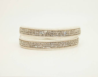 White Pave Crystals on Vegan Suede - Double Wrap Cuff