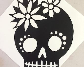 Day of the Dead skull vinyl sticker decal car window sticker