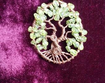 Peridot and Copper Tree of Life pendant