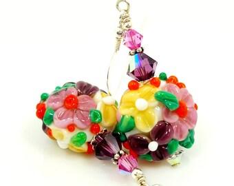 Colorful Pink Earrings, Floral Earrings, Flower Earrings, Lampwork Earrings, Glass Earrings, Glass Bead Earrings, Bright Earrings