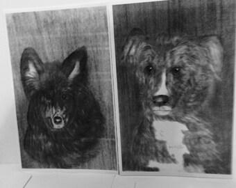 black dog cards, dog cards, two dog card set, dog cards and envelopes, black dog stationary, JeriAielloartstore, print of original, USA made