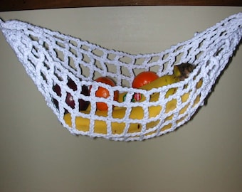 Banana Hammock, Fruit Hanger, Holder, Net, White