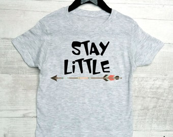 Stay little kids shirt. Boys and girls modern clothes. Kids shirt with arrow print.