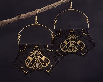 Moth Earrings - Black and Gold - Handpainted Jewellery - Fabric Earrings - Witchy Jewellery