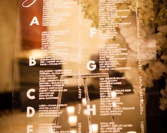 Custom Wedding Seating Chart Acrylic 24 by 36
