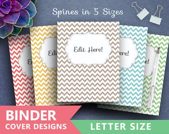 "Binder Cover Printable ""PASTEL CHEVRON"" Print Binder 5x set Covers + Spines Teacher Binder Student Binder College Binder Instant Download"