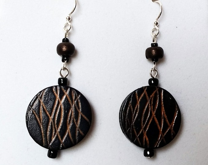 Round Leather Coin Shaped Earrings in Mocha Brown with Double Drop - Brown Etched Leather Earrings