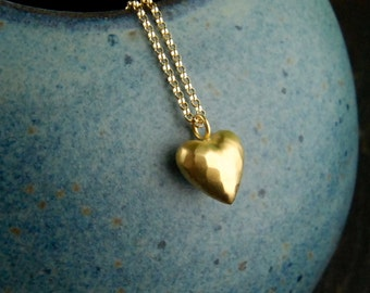 Puffy heart pendant etsy gold puffy heart pendant and gold filled necklace puffed heart hammered matte gold aloadofball Gallery