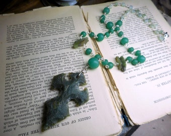 The Claymore. Hand Knapped Forest Green Agate Crucifix Dagger, Green Kyanite Moss Agate Cubes & Kelly Green Victorian Glass Unisex necklace