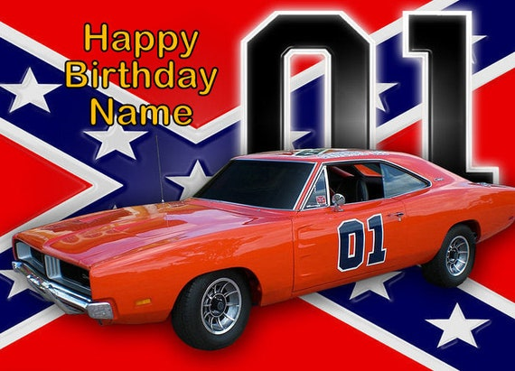 Dukes Of Hazzard General Lee Edible Image Cake Topper