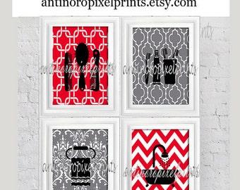 Red Grey Black Bathroom Wall Art Collection Combs, Towel, Bath Tub -Set of (4) - 5x7 Prints (Unframed)