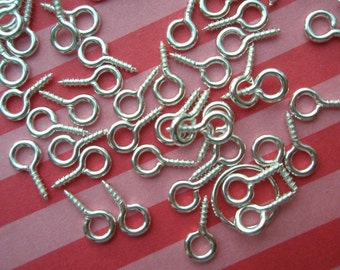 Silver plated screw eye pins 20pcs