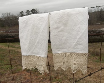 Pair Linen & Lace Towels Prairie French Tea Towels Cottage Chic Hand Towel French Country Handmade Bath Décor Lace Tea Towel