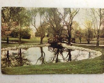 Vintage Postcard Davenport Iowa Central Park