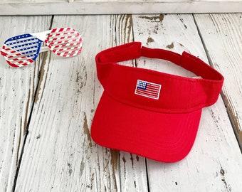 USA Flag Visor | Sun Visors, Flag Visor Hat, Red white and Blue, Memorial Day Visor Hat, 4th of July Visor, Sun Hat, Labor Day Beach Hat