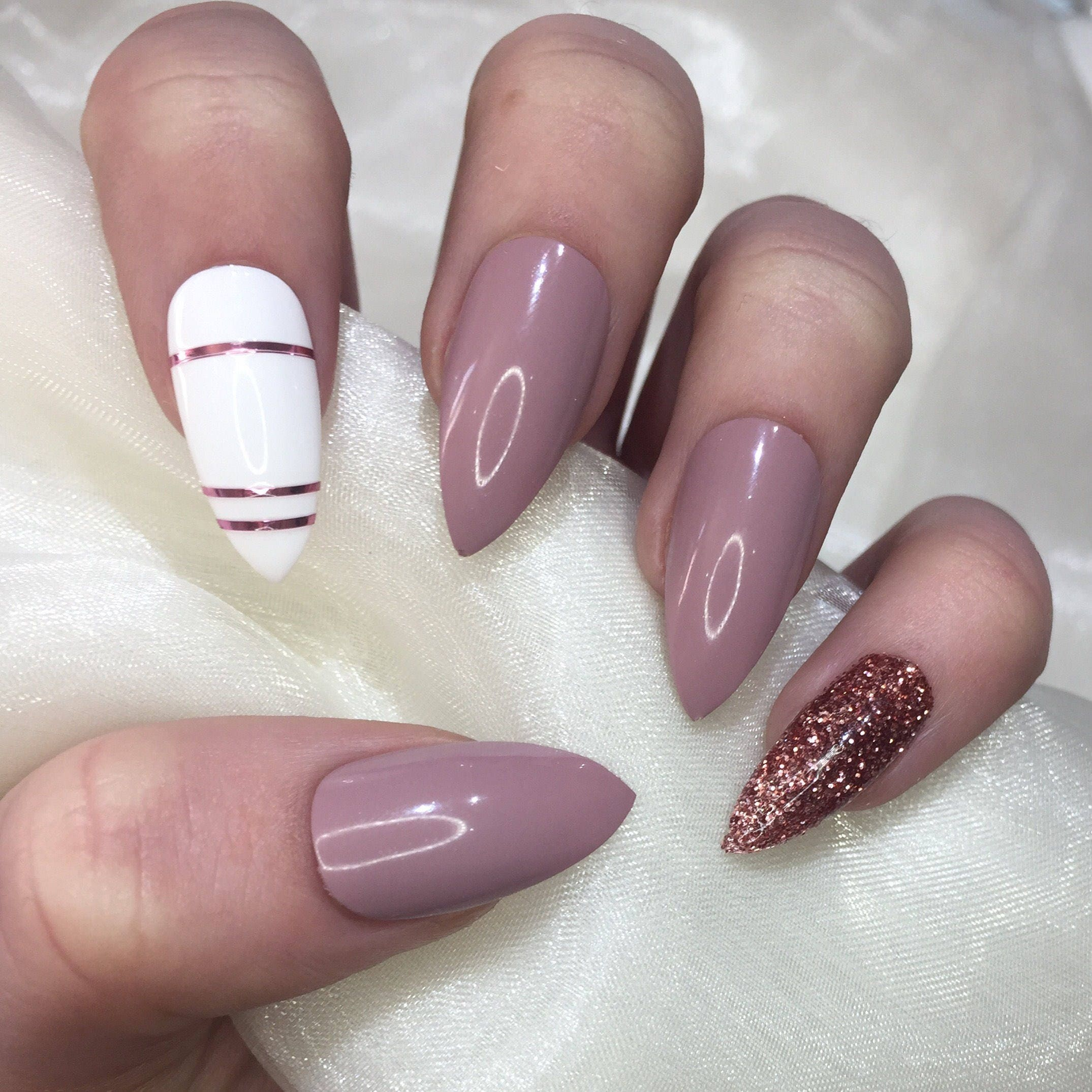 Nude White and Rose Gold stiletto Nails