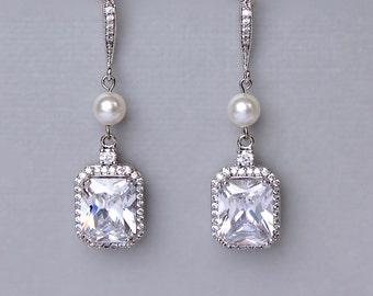 Square Crystal Earrings, Bridal Earrings, Crystal Wedding Earrings,  Emerald Cut Earrings, Bridal Jewelry, EMILIA