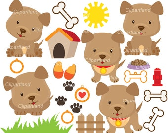 INSTANT DOWNLOAD. CDP_4_Puppy_dog. Puppy dog clipart. Personal and commercial use.