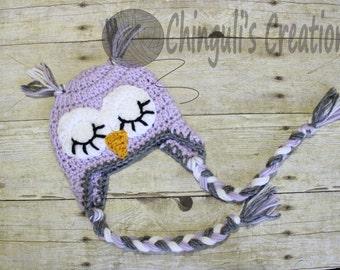 Crochet Owl Hat, Baby Pink Owl Beanie Sleepy Owl Valentines Owl Hat Easter Owl hat Girls Owl hat