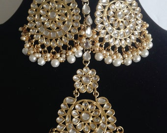 Kundan Maang Tikka Earring Set,Jhoomer Bollywood Earrings/ Punjabi Style Earrings,Traditional Indian Wedding Tika earring ,Kundan Jewellery