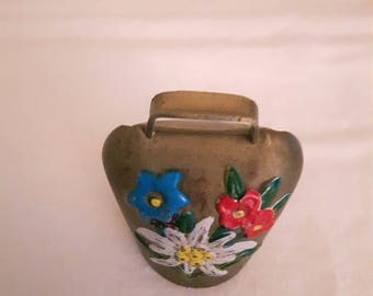 Vintage Brass Cow Bell/Pendant with Blue, Red and White Flowers - Swiss Alps - 1950s - Wedding Gift/Mother's Day/Birthday