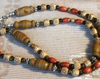 Chinese Jasper Vase Beads, Multicolor Wood, Bone and Pewter Beaded 22 inch Necklace