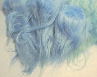 Icelandic Long Wool Locks Spinning Fiber Blue Mix 2 oz for Hand Spun Art Yarn