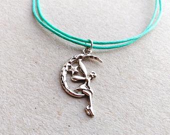 SALE -Silver Fairy bracelet, Fairy anklet or Fairy necklace -waxed cotton cord -8 colors -Best Friends Bracelet -Moon Fairy Jewellery
