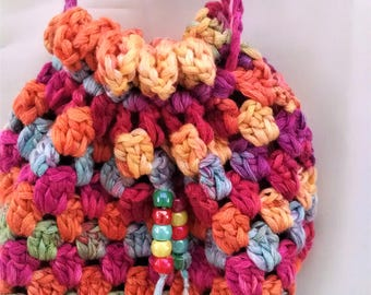 crochet drawstring over the shoulder bag, birthday or Easter gift for her, toddler, teenager, young lady handbag accessory, present from Mom